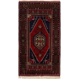 eCarpetGallery  Hand-Knotted Anatolian Vintage Dark Navy, Red Wool Rug - 4'9 x 8'6