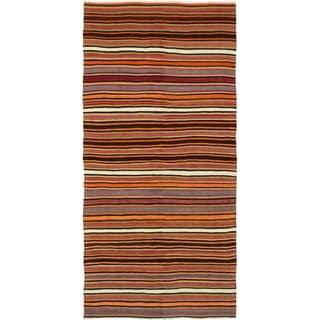 eCarpetGallery  Flat-weave Bohemian Dark Red Wool Kilim - 4'7 x 9'6