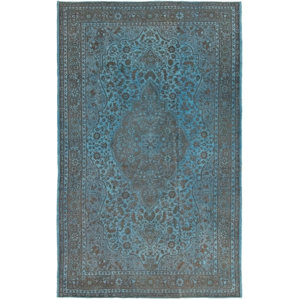 Hand-knotted Color Transition Turquoise Wool Rug - 6'9 x 11'1. Opens flyout.