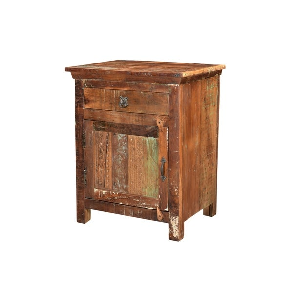 Aiden Collection - 1 Drawer 1 Door (LEFT) Carved Nightstand-Natural