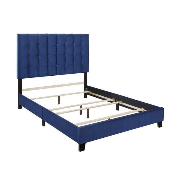 Anna Blue Velvet King Upholstered Panel Bed