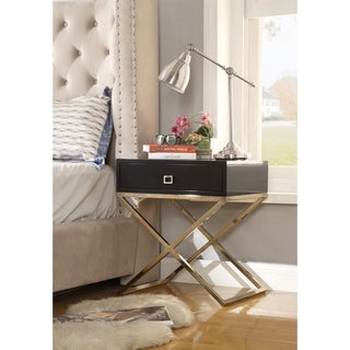 Foster Square Lacquer X-Legs Accent Table/ Nightstand with Drawer