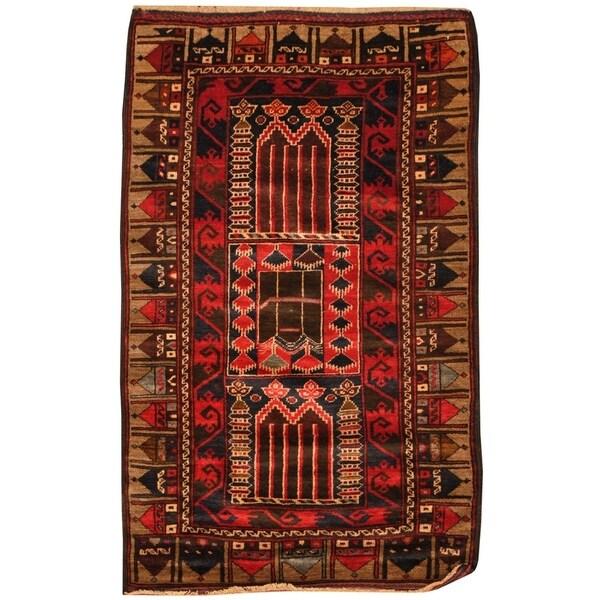 Handmade One-of-a-Kind Balouchi Wool Rug (Afghanistan) - 2'6 x 4'5