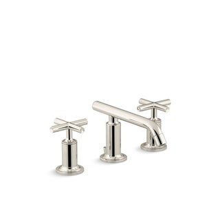 Purist(R) widespread bathroom sink faucet with low cross handles and low spout