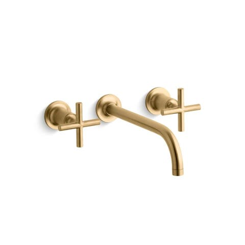 "Purist(R) wall-mount bathroom sink faucet trim with cross handles and 9"" 90-degree angle spout, requires valve"