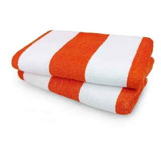 Kaufman- Set of 2 Orange Cabana Beach and Pool Towel 30'' X 60'' 100% Cotton