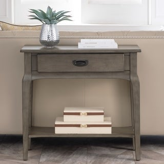 Weathered Smoky Grey Hardwood/Veneer/Blackened Metal Condo/Apartment Entryway Table with Drawer and Lower Shelf