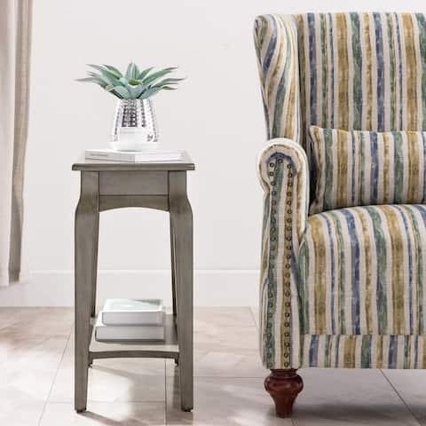 Narrow Chairside Grey Wood Table