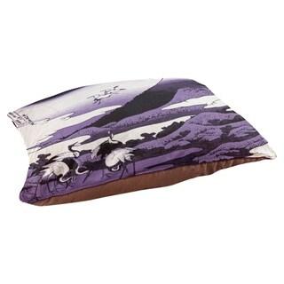 Katsushika Hokusai Japanese Cranes in Purple Dog Bed