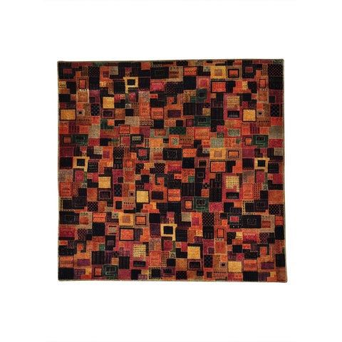 "Shahbanu Rugs Patchwork Gabbeh Square Wool and Silk Handmade Oriental Rug (6'5"" x 6'5"") - 6'5"" x 6'5"""