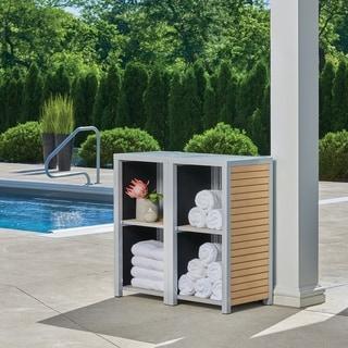 Oxford Garden Travira 2-piece Modular Valet Shelves Bases Set - Tekwood Natural