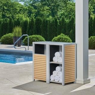 Oxford Garden Travira 2-piece Modular Valet Receptacle and Shelves Bases Set - Tekwood Natural