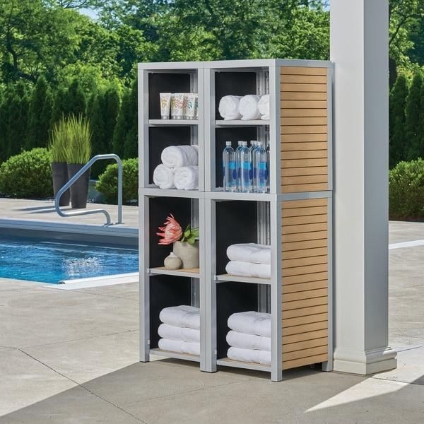 Oxford Garden Travira 4-piece Modular Valet Shelves Bases with Hutch Set - Tekwood Natural