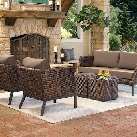 Oxford Garden Salino Sable Resin Wicker Woven Sofa - Toast Cushions