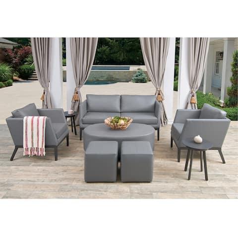 Oxford Garden Salino Nickel Nauticau Synthetic Leather Coffee Table Pouf - Nauticau Nickel Cushions