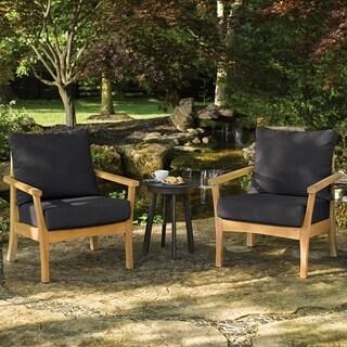 Oxford Garden Mera Natural Shorea Club Chair - Black Onyx Cushions