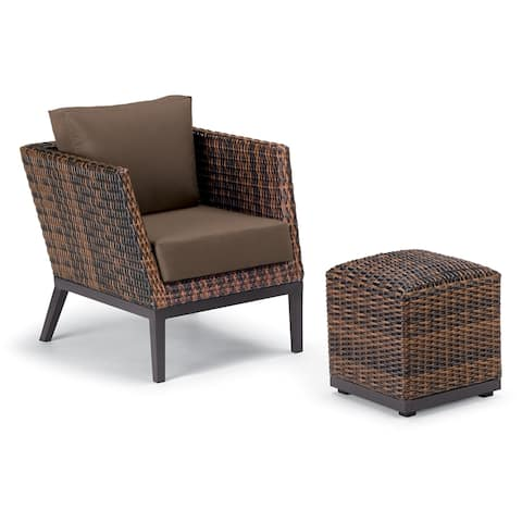 Oxford Garden Salino 2-piece Sable Resin Wicker Woven Club Chair and Ottoman Pouf Lounge Set - Toast Cushions