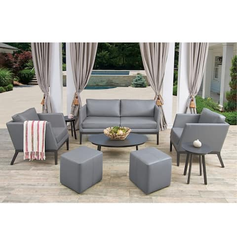 Oxford Garden Salino 8-piece Nickel Nauticau Synthetic Leather Sofa, Club Chairs, Ottoman Poufs, and Eiland Tables Chat Set