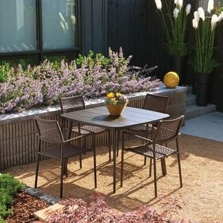 Oxford Garden Eiland 5-piece Mocha Composite Cord Carbon with Mocha Dining Set