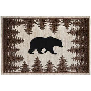 Axel Tranquil Bear Rustic Lodge Ivory Area Rug