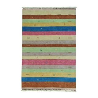 "Shahbanu Rugs Striped Modern Hand-Loomed Gabbeh Pure Wool Oriental Rug (5'6"" x 8'1"") - 5'6"" x 8'1"""