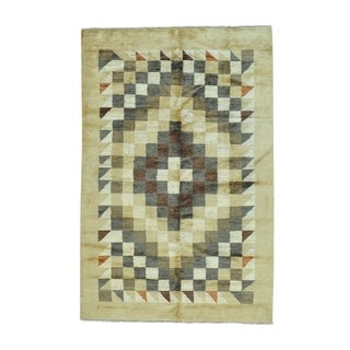 "Shahbanu Rugs Peshawar Gabbeh Pure Wool Hand Knotted Oriental Rug (5'2"" x 7'10"") - 5'2"" x 7'10"""