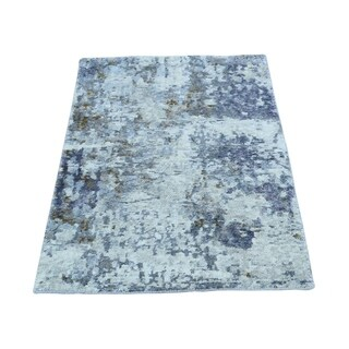 "Shahbanu Rugs Hand-Knotted Hi and Low Pile Wool And Silk Abstract Design Rug (2'0"" x 3'0"") - 2'0"" x 3'0"""