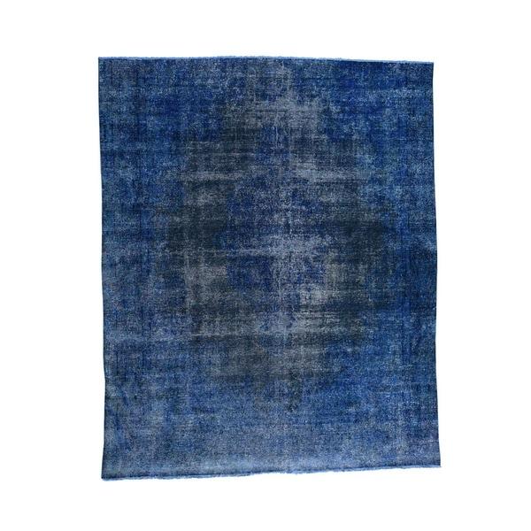 "Shahbanu Rugs Overdyed Kerman Fragment Pure Wool Oriental Rug (9'3"" x 11'2"") - 9'3"" x 11'2"""
