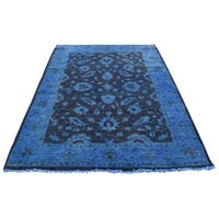 "Shahbanu Rugs Hand Knotted Denim Blue Cast Overdyed Peshawar Pure Wool Rug  (4'1"" x 6'1"") - 4'1"" x 6'1"""