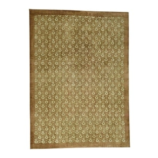 """Shahbanu Rugs Hand Knotted Agra With Rosette Design Pure Wool Oriental Rug (10'0"""" x 13'10"""") - 10'0"""" x 13'10"""""""