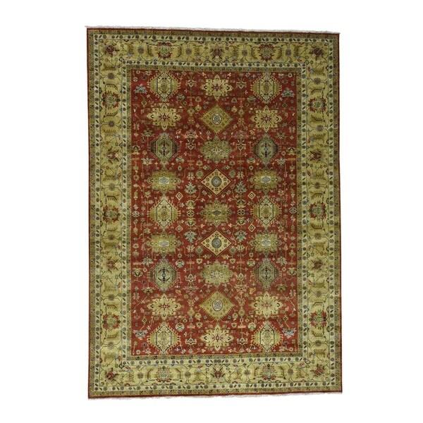 "Shahbanu Rugs Hand-Knotted 100 Percent Wool Karajeh Oriental Rug (9'10"" x 14'1"") - 9'10"" x 14'1"""