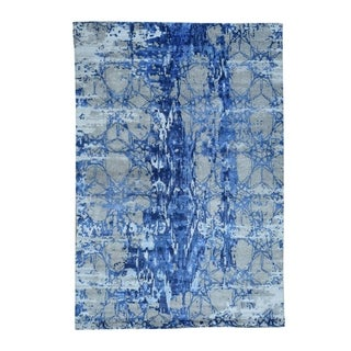 "Shahbanu Rugs Hand-Knotted Wool And Silk Abstract Design Oriental Rug (6'1"" x 8'10"") - 6'1"" x 8'10"""