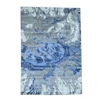 """Shahbanu Rugs Abstract Design Hi And Low Pile Hand-Knotted Wool And Silk Rug (6'3"""" x 8'9"""") - 6'3"""" x 8'9"""""""