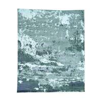 """Shahbanu Rugs Hand-Knotted Abstract Design Wool And Silk  Hi And Low Pile Rug (8'0"""" x 9'10"""") - 8'0"""" x 9'10"""""""