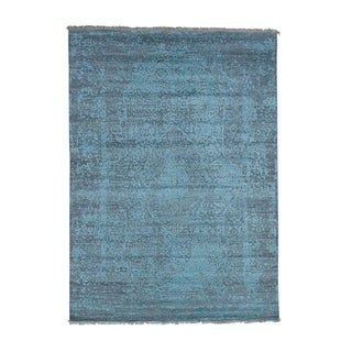 """Shahbanu Rugs Hand-Knotted Wool and Silk Broken Persian Design Oriental Rug (5'0"""" x 6'10"""") - 5'0"""" x 6'10"""""""
