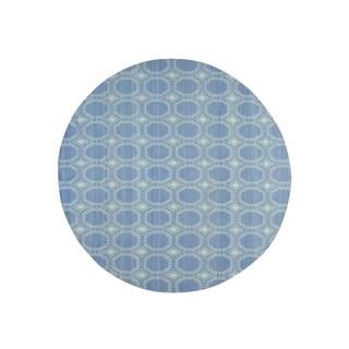 "Shahbanu Rugs Hand-Woven Flat Weave Reversible Durie Kilim Round Oriental Rug (9'8"" x 9'9"") - 9'8"" x 9'9"""