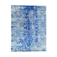 """Shahbanu Rugs Hand-Knotted Hi And Lo Pile Wool And Silk Abstract Rug (8'1"""" x 10'0"""") - 8'1"""" x 10'0"""""""