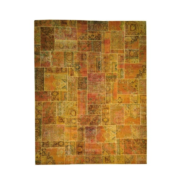 """Shahbanu Rugs Hand-Knotted Pure Wool Overdyed Patchwork Oversize Oriental Rug (12'4"""" x 16'0"""") - 12'4"""" x 16'0"""""""