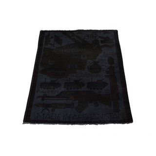 "Shahbanu Rugs Guns and Tanks Design Overdyed Hand-Knotted Afghan War Rug (2'0"" x 2'7"") - 2'0"" x 2'7"""