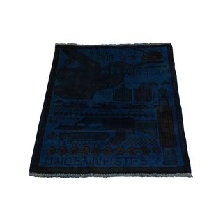 "Shahbanu Rugs Hand-Knotted Overdyed Afghan War Guns and Tanks Design Rug (2'0"" x 2'5"") - 2'0"" x 2'5"""