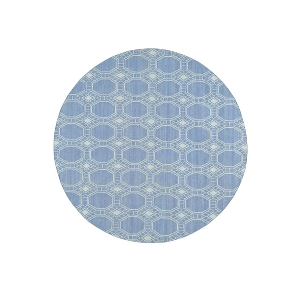 """Shahbanu Rugs Flat Weave Hand-Woven Reversible Durie Kilim Round Rug (7'10"""" x 7'10"""") - 7'10"""" x 7'10"""""""