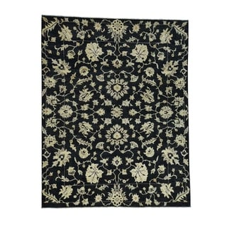 "Shahbanu Rugs Black Peshawar Design Hand-Knotted Pure Wool Oriental Rug (8'0"" x 10'4"") - 8'0"" x 10'4"""