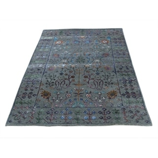 "Shahbanu Rugs Hand-Knotted Arts and Crafts Design Wool and Silk Oriental Rug (5'0"" x 7'1"") - 5'0"" x 7'1"""
