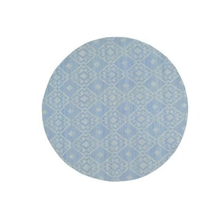"Shahbanu Rugs Reversible Flat Weave Hand-Woven Durie Kilim Round Oriental Rug (6'0"" x 6'0"") - 6'0"" x 6'0"""