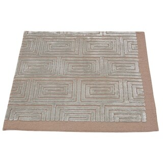 "Shahbanu Rugs Wool And Silk Hand Knotted Square Embossed Modern Oriental Rug (2'0"" x 2'0"") - 2'0"" x 2'0"""