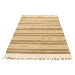 "Shahbanu Rugs Reversible Hand Woven Striped Durie Kilim Flat Weave Rug  (3'9"" x 6'0"") - 3'9"" x 6'0"""