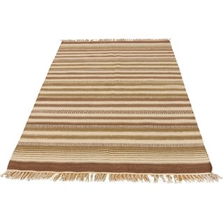 "Shahbanu Rugs Striped Durie Kilim Hand Woven Flat Weave Reversible Rug (3'9"" x 5'10"") - 3'9"" x 5'10"""