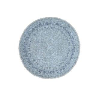 "Shahbanu Rugs Wool and Silk Hand-Knotted Kashan Design Round 300 Kpsi Rug (6'7"" x 6'7"") - 6'7"" x 6'7"""