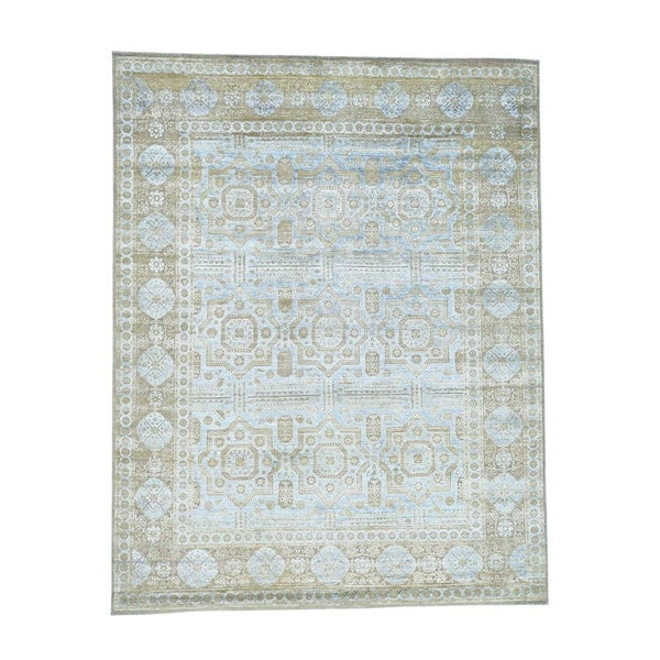 "Shahbanu Rugs Hand-Knotted Silk with Oxidized Wool Mamluk Design Rug (7'10"" x 10'0"") - 7'10"" x 10'0"""