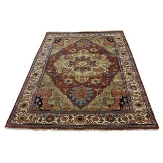 """Shahbanu Rugs Hand-Knotted Pure Wool Antiqued Heriz Re-creation Oriental Rug (4'1"""" x 6'0"""") - 4'1"""" x 6'0"""""""